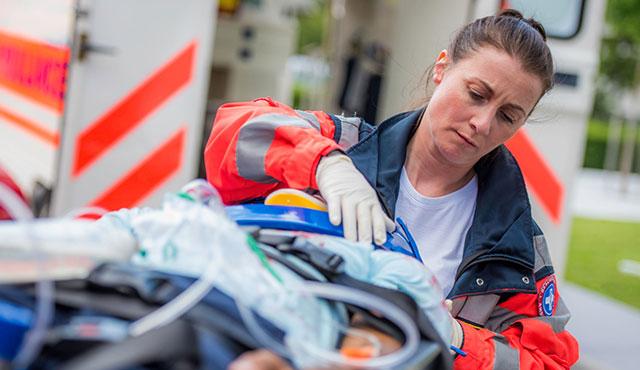 EMT working on patient