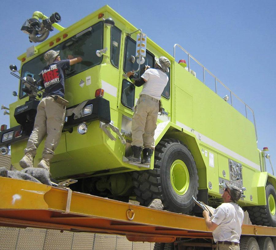 ARFF truck arrival - Apache